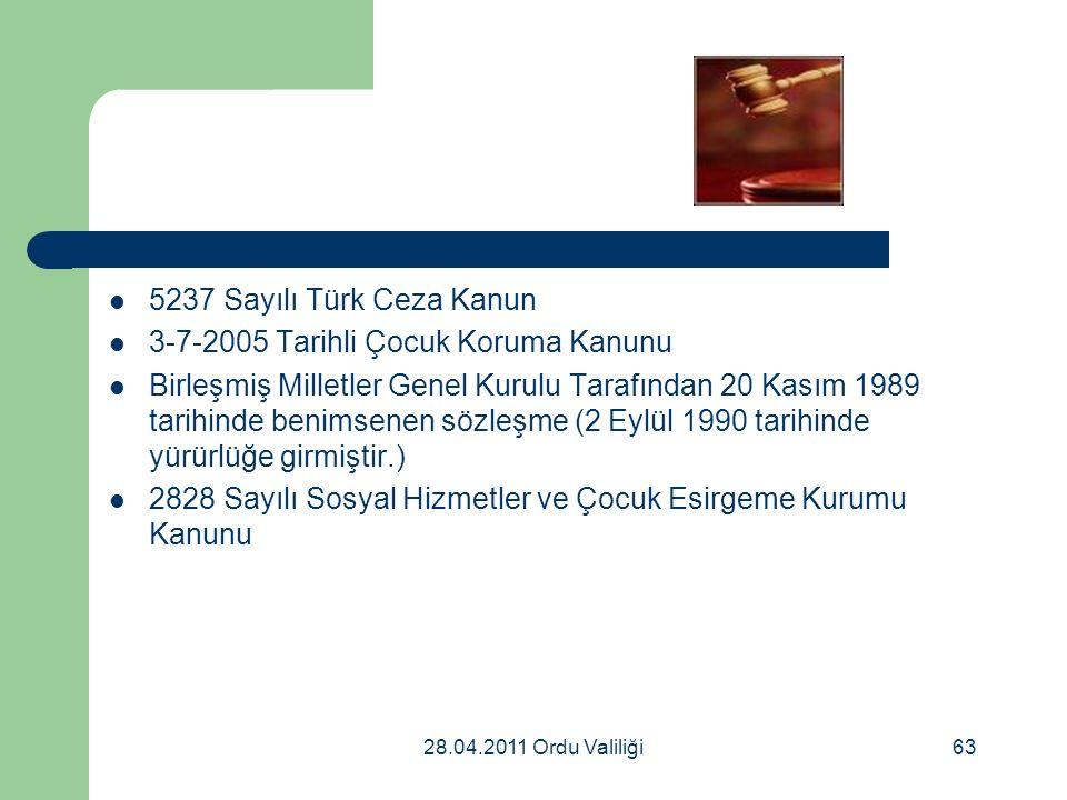 28.04.2011 Ordu Valiliği63 5237 Sayılı Türk Ceza Kanun 3-7-2005 Tarihli Çocuk Koruma Kanunu Birleşmiş Milletler Genel Kurulu Tarafından 20 Kasım 1989 tarihinde benimsenen sözleşme (2 Eylül 1990 tarihinde yürürlüğe girmiştir.) 2828 Sayılı Sosyal Hizmetler ve Çocuk Esirgeme Kurumu Kanunu