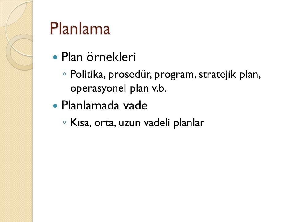 Planlama Plan örnekleri ◦ Politika, prosedür, program, stratejik plan, operasyonel plan v.b. Planlamada vade ◦ Kısa, orta, uzun vadeli planlar