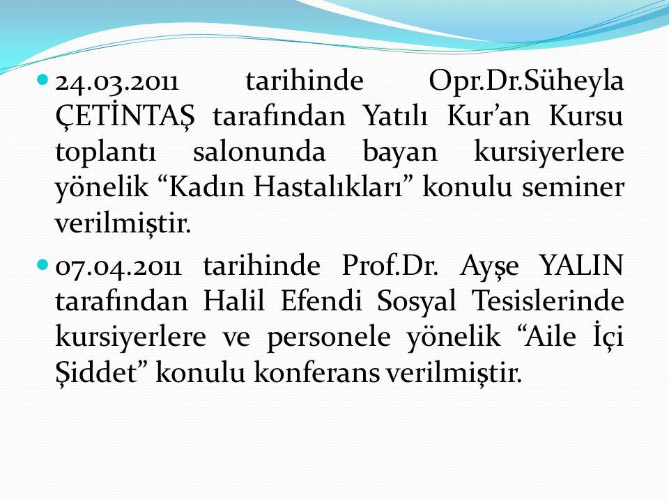 24.03.2011 tarihinde Opr.Dr.Süheyla ÇETİNTAŞ tarafından Yatılı Kur'an Kursu toplantı salonunda bayan kursiyerlere yönelik Kadın Hastalıkları konulu seminer verilmiştir.