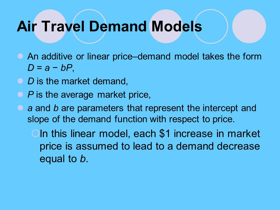 Air Travel Demand Models An additive or linear price–demand model takes the form D = a − bP, D is the market demand, P is the average market price, a and b are parameters that represent the intercept and slope of the demand function with respect to price.