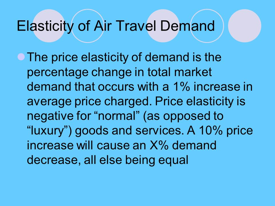 Elasticity of Air Travel Demand The price elasticity of demand is the percentage change in total market demand that occurs with a 1% increase in average price charged.