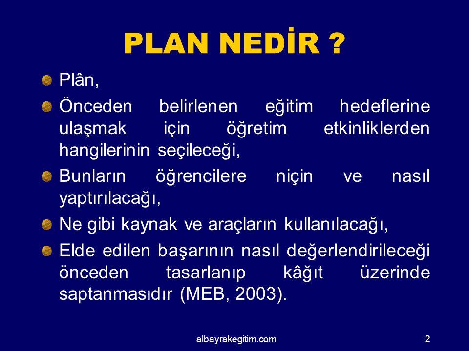 EĞİTİM ÖĞRETİMDE HAZIRLANAN PLANLAR Üniteleştirilmiş Yıllık Plan Günlük Ders Planı Gezi-Gözlem Planı Deney Planı Bireyselleştirilmiş Eğitim Planı ( BEP ) Sosyal Etkinlikler Çalışma Planı albayrakegitim.com12