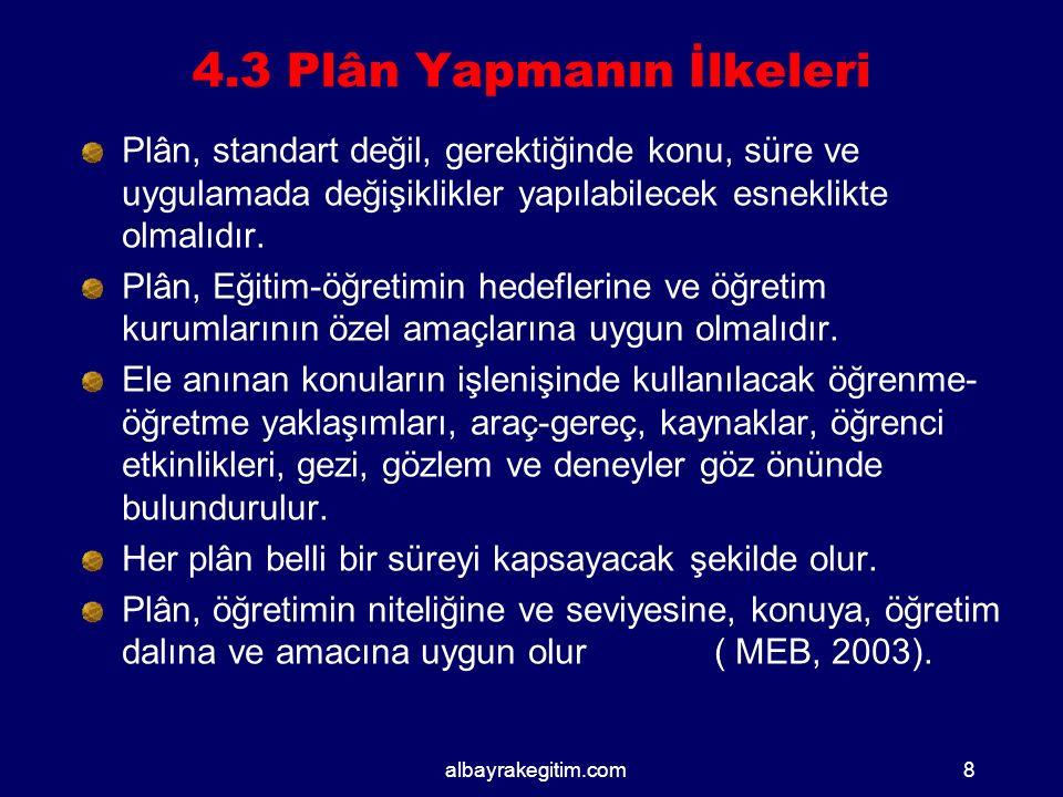 4.3 Plân Yapmanın İlkeleri Plân, standart değil, gerektiğinde konu, süre ve uygulamada değişiklikler yapılabilecek esneklikte olmalıdır.