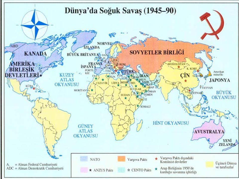 """4-II. Dünya Savaşı'nın en mühim neticelerinden biri de, milletler arası politikanın """"alan genişlemesi""""dir. 4-II. Dünya Savaşı'nın en mühim neticelerin"""