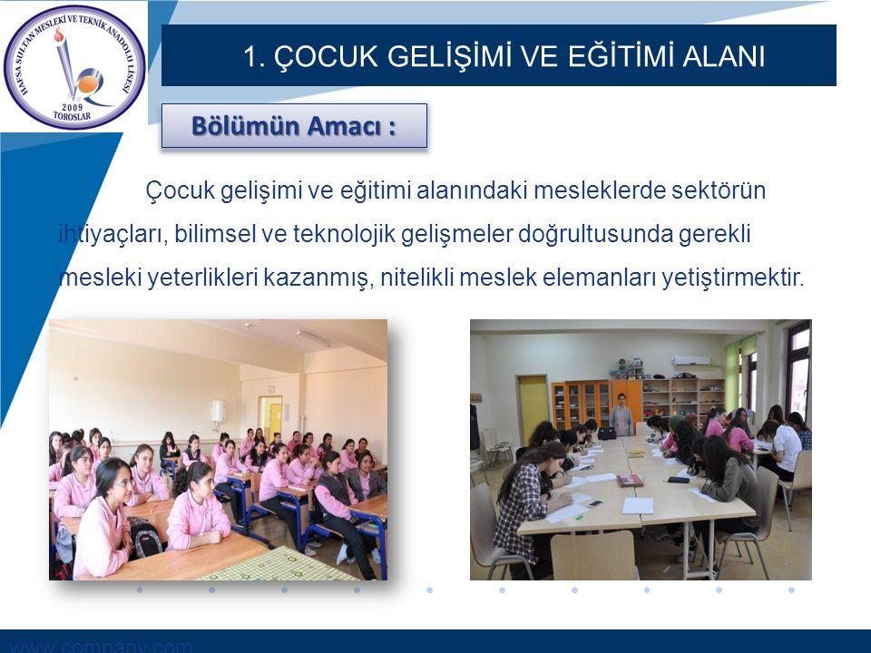 www.company.com 1. ÇOCUK GELİŞİMİ VE EĞİTİMİ ALANI Bölümün Amacı : Çocuk gelişimi ve eğitimi alanındaki mesleklerde sektörün ihtiyaçları, bilimsel ve