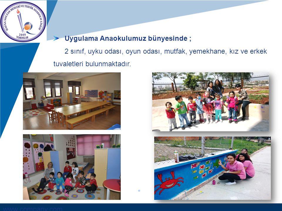 www.company.com Uygulama Anaokulumuz bünyesinde ; 2 sınıf, uyku odası, oyun odası, mutfak, yemekhane, kız ve erkek tuvaletleri bulunmaktadır.