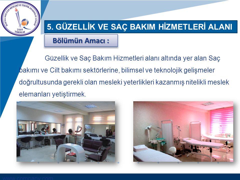 www.company.com 5. GÜZELLİK VE SAÇ BAKIM HİZMETLERİ ALANI Güzellik ve Saç Bakım Hizmetleri alanı altında yer alan Saç bakımı ve Cilt bakımı sektörleri