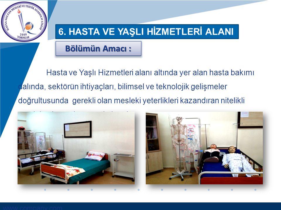 www.company.com 6. HASTA VE YAŞLI HİZMETLERİ ALANI Hasta ve Yaşlı Hizmetleri alanı altında yer alan hasta bakımı dalında, sektörün ihtiyaçları, bilims