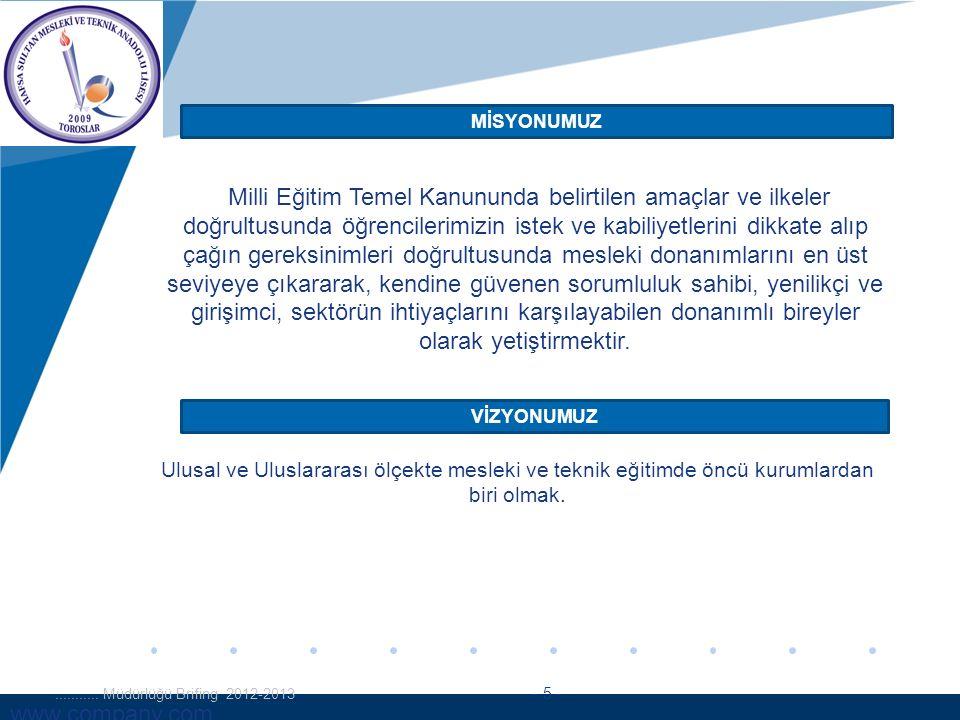 www.company.com MİSYONUMUZ VİZYONUMUZ........... Müdürlüğü Brifing 2012-2013 - 5 - Milli Eğitim Temel Kanununda belirtilen amaçlar ve ilkeler doğrultu