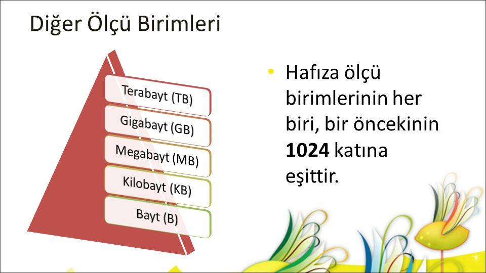 Ölçü Birimleri Dönüşümü 1 B 1 KB = 1024 B 1 MB = 1024 KB 1 GB = 1024 MB 1 TB = 1024 GB Yandaki şekle göre 1 MB'lık metin belgesinde kaç harf yazılmış olabilir?