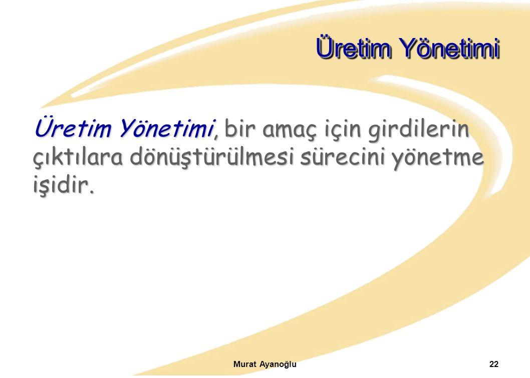 Murat Ayanoğlu22 Üretim Yönetimi Üretim Yönetimi, bir amaç için girdilerin çıktılara dönüştürülmesi sürecini yönetme işidir.