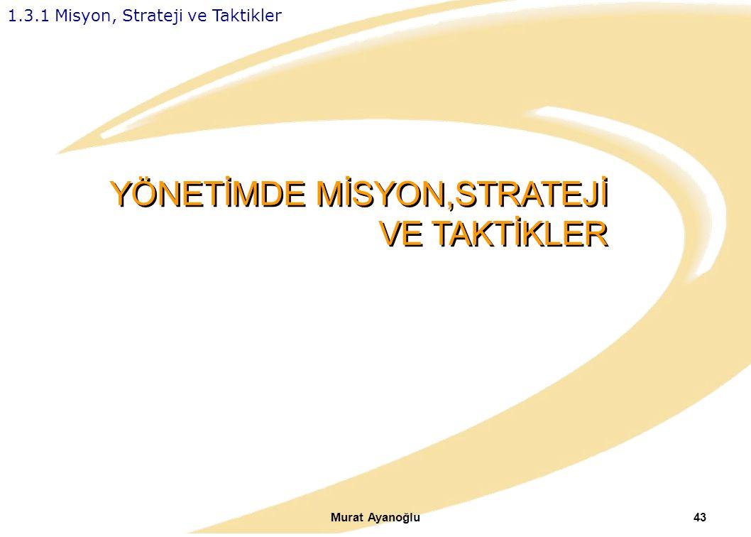 Murat Ayanoğlu43 YÖNETİMDE MİSYON,STRATEJİ VE TAKTİKLER 1.3.1 Misyon, Strateji ve Taktikler