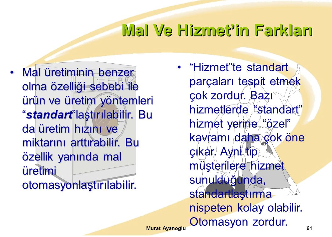 """Murat Ayanoğlu61. Mal Ve Hizmet'in Farkları Mal üretiminin benzer olma özelliği sebebi ile ürün ve üretim yöntemleri """"standart""""laştırılabilir. Bu da ü"""