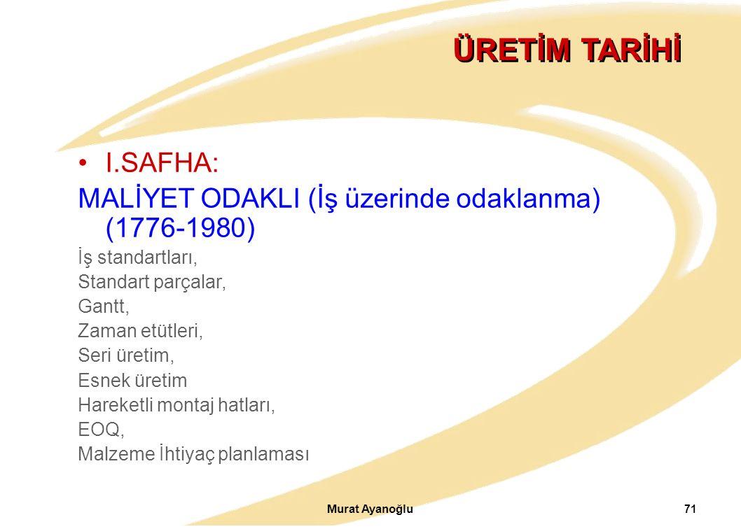 Murat Ayanoğlu 71 ÜRETİM TARİHİ I.SAFHA: MALİYET ODAKLI (İş üzerinde odaklanma) (1776-1980) İş standartları, Standart parçalar, Gantt, Zaman etütleri,