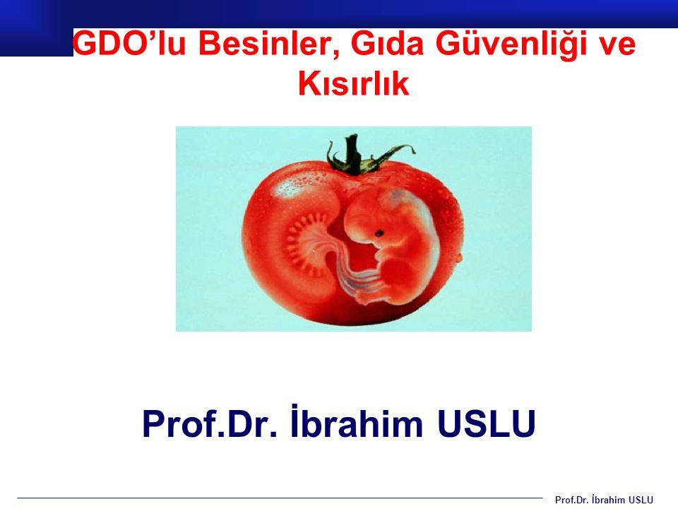 Prof.Dr. İbrahim USLU GDO'lu Besinler, Gıda Güvenliği ve Kısırlık Prof.Dr. İbrahim USLU