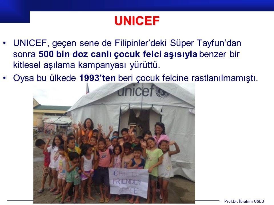 Prof.Dr. İbrahim USLU UNICEF, geçen sene de Filipinler'deki Süper Tayfun'dan sonra 500 bin doz canlı çocuk felci aşısıyla benzer bir kitlesel aşılama