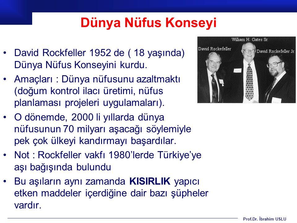 Prof.Dr. İbrahim USLU Dünya Nüfus Konseyi David Rockfeller 1952 de ( 18 yaşında) Dünya Nüfus Konseyini kurdu. Amaçları : Dünya nüfusunu azaltmaktı (do