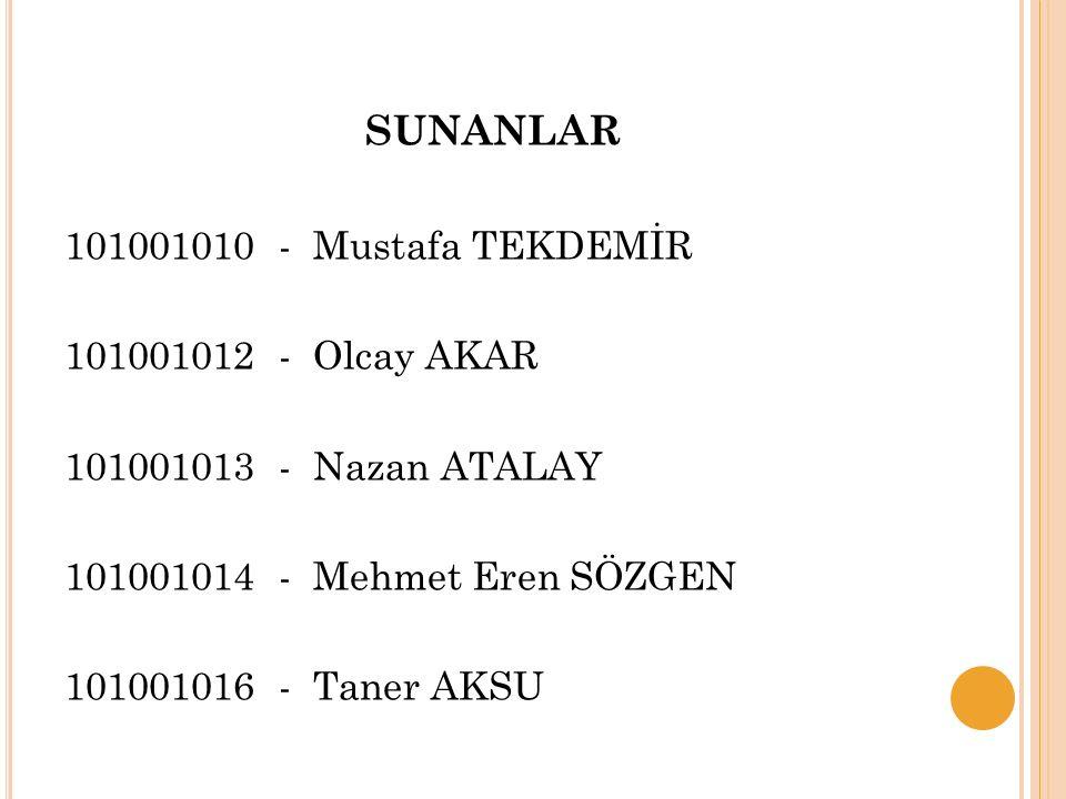 SUNANLAR 101001010 - Mustafa TEKDEMİR 101001012 - Olcay AKAR 101001013 - Nazan ATALAY 101001014 - Mehmet Eren SÖZGEN 101001016 - Taner AKSU