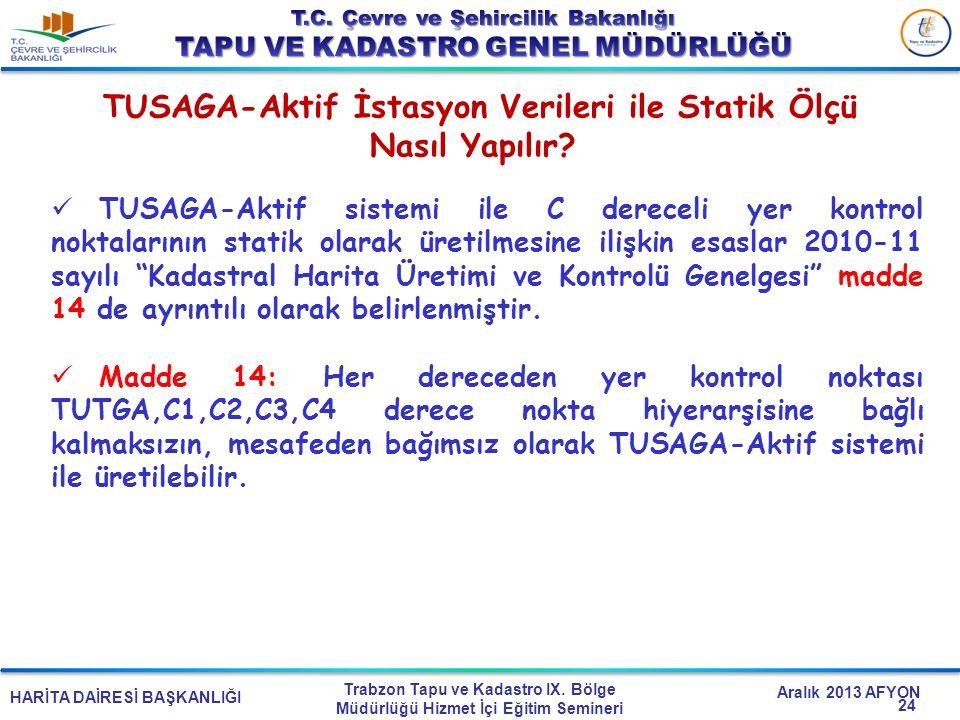 HARİTA DAİRESİ BAŞKANLIĞI Trabzon Tapu ve Kadastro IX. Bölge Müdürlüğü Hizmet İçi Eğitim Semineri Aralık 2013 AFYON TUSAGA-Aktif İstasyon Verileri ile