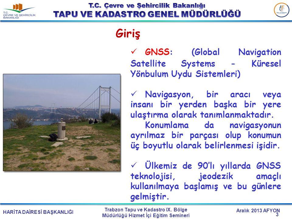 HARİTA DAİRESİ BAŞKANLIĞI Trabzon Tapu ve Kadastro IX. Bölge Müdürlüğü Hizmet İçi Eğitim Semineri Aralık 2013 AFYON Giriş GNSS: (Global Navigation Sat