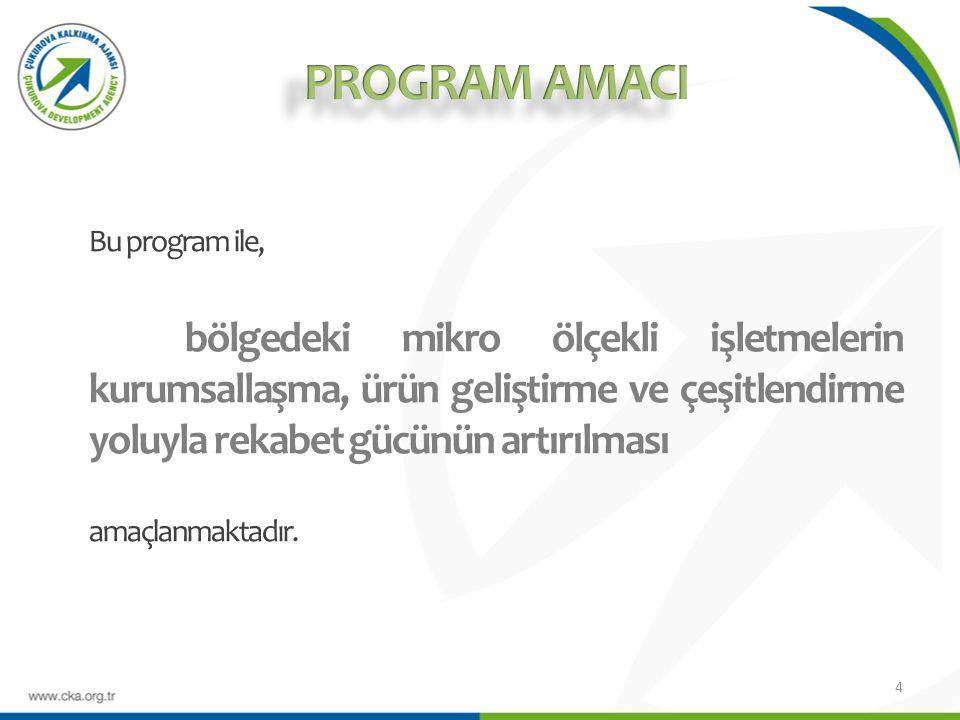 Mali Destek Programı hakkında detaylı bilgi Çukurova Kalkınma Ajansı veya Ajansın internet adresinden (www.cka.org.tr ) temin edilebilecek Başvuru Rehberi nde mevcuttur.