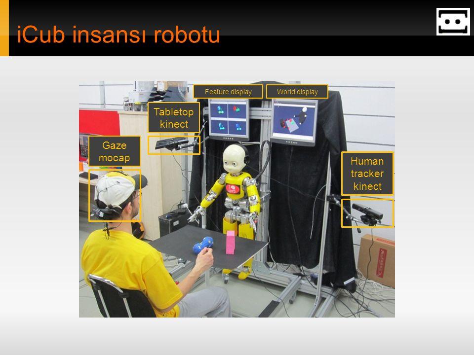 iCub insansı robotu Feature display Human tracker kinect Gaze mocap Tabletop kinect World display