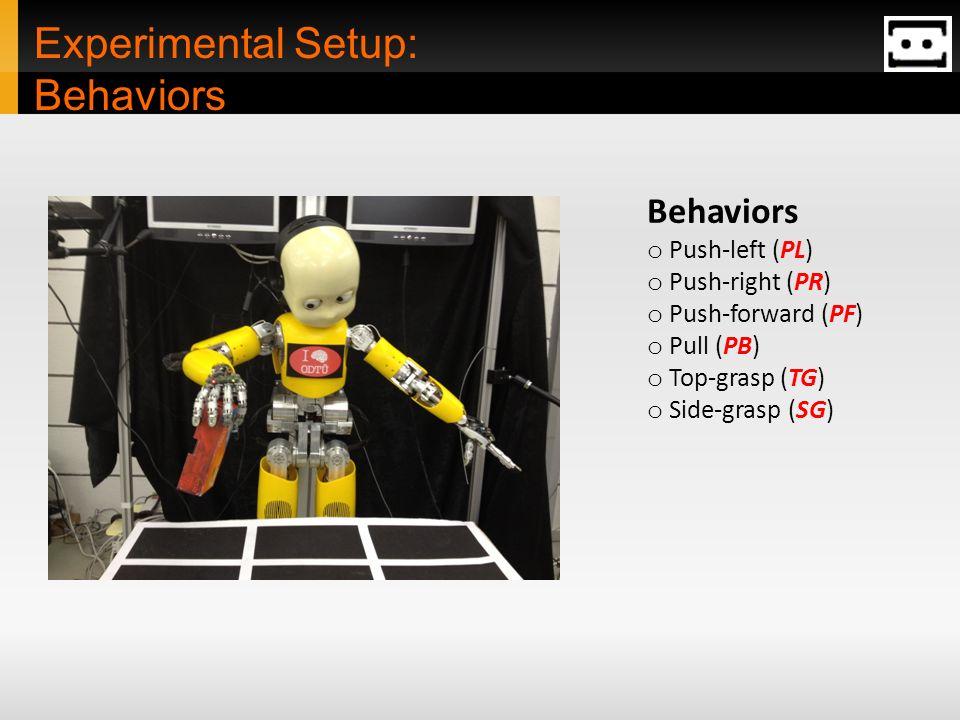Experimental Setup: Behaviors Behaviors o Push-left (PL) o Push-right (PR) o Push-forward (PF) o Pull (PB) o Top-grasp (TG) o Side-grasp (SG)