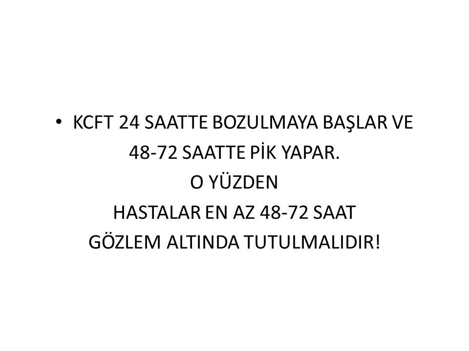 KCFT 24 SAATTE BOZULMAYA BAŞLAR VE 48-72 SAATTE PİK YAPAR. O YÜZDEN HASTALAR EN AZ 48-72 SAAT GÖZLEM ALTINDA TUTULMALIDIR!