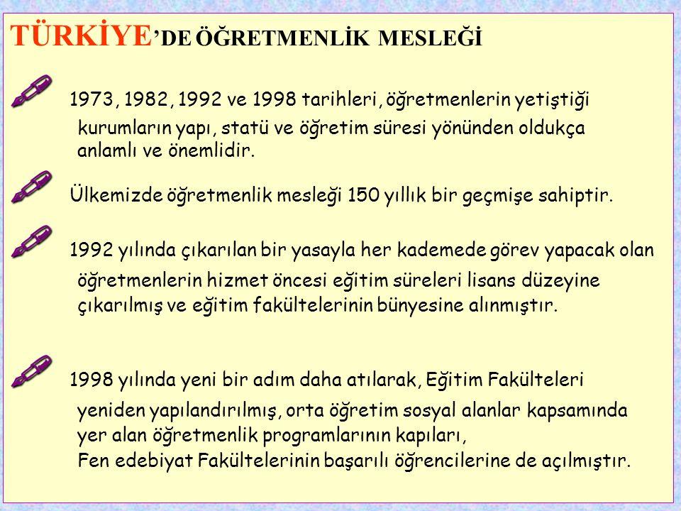 TÜRKİYE 'DE ÖĞRETMENLİK MESLEĞİ   Öğretmenlik en eski mesleklerden biridir.   Ülkemizde öğretmenlik mesleği 150 yıllık bir geçmişe sahiptir.   T