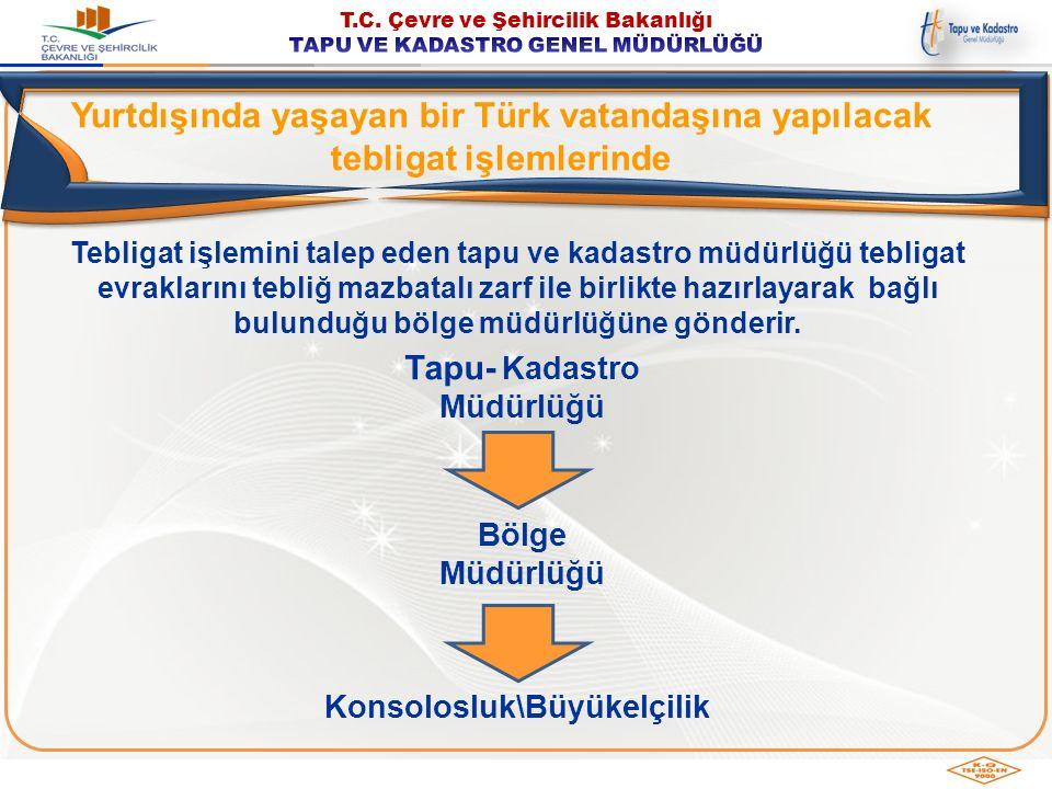 Yurtdışında yaşayan bir Türk vatandaşına yapılacak tebligat işlemlerinde Tebligat işlemini talep eden tapu ve kadastro müdürlüğü tebligat evraklarını
