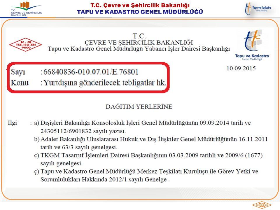  7201 sayılı Tebligat Kanunu  Tebligat Kanununun Uygulanmasına Dair Yönetmelik  1965 tarihli Hukuki ve Ticari Konularda Adli ve Gayri Adli Belgelerin Yabancı Memleketlerde Tebliğine Dair Lahey Sözleşmesi  1954 tarihli Hukuk Usulüne Dair Lahey Sözleşmesi  Türkiye'nin Taraf Olduğu Uluslararası Sözleşmeler İLGİLİMEVZUAT İLGİLİ MEVZUAT