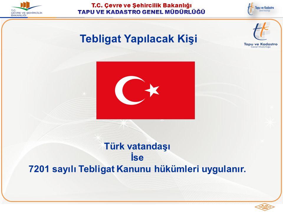 Tebligat Yapılacak Kişi Yabancı uyruklu gerçek veya tüzel kişi İzinle Türk vatandaşlığını kaybetmiş kişi (Mavi Kartlı)