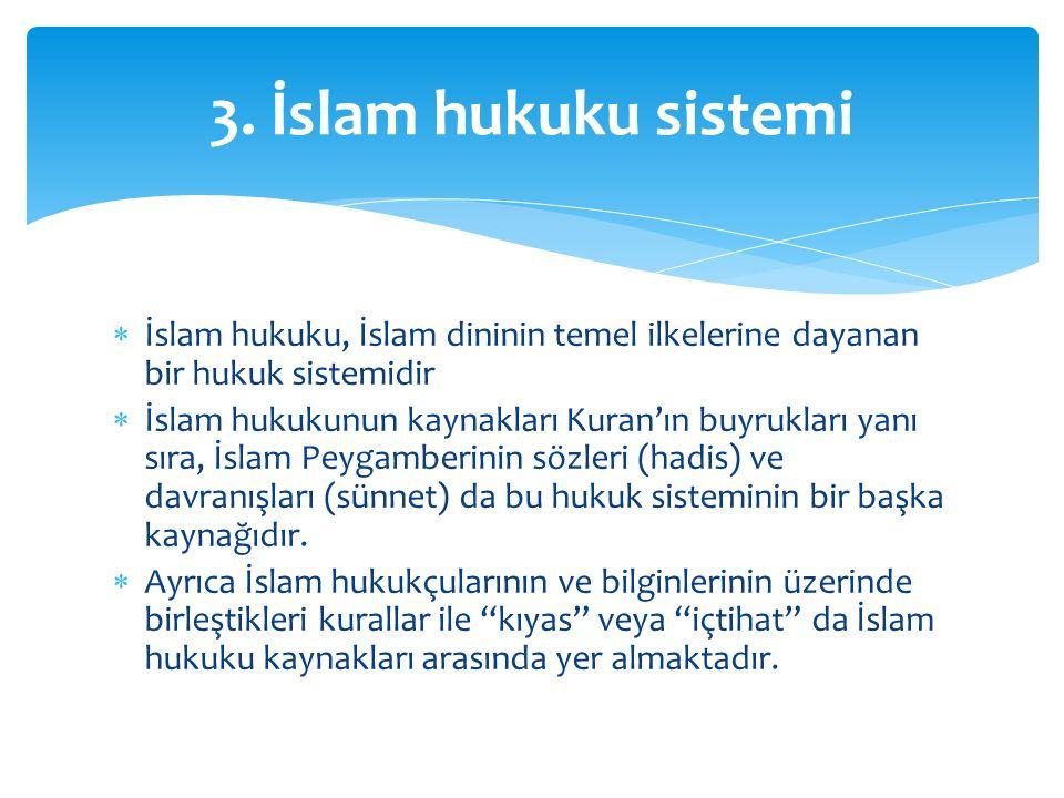  İslam hukuku, İslam dininin temel ilkelerine dayanan bir hukuk sistemidir  İslam hukukunun kaynakları Kuran'ın buyrukları yanı sıra, İslam Peygamb