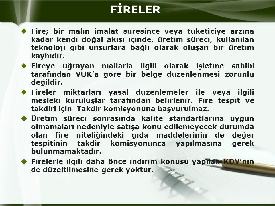 FİRELER  Fire; bir malın imalat süresince veya tüketiciye arzına kadar kendi doğal akışı içinde, üretim süreci, kullanılan teknoloji gibi unsurlara b
