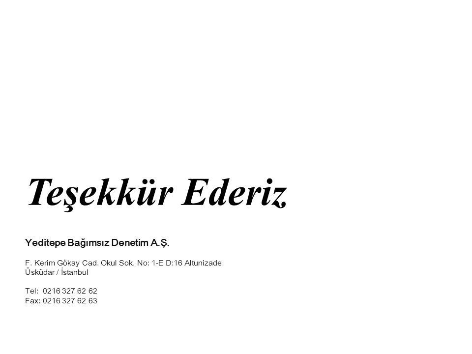 Teşekkür Ederiz Erkan Ateşli YMM ve Bağımsız Denetim Ltd. Şti. Yeditepe Bağımsız Denetim A.Ş. F. Kerim Gökay Cad. Okul Sok. No: 1-E D:16 Altunizade Üs