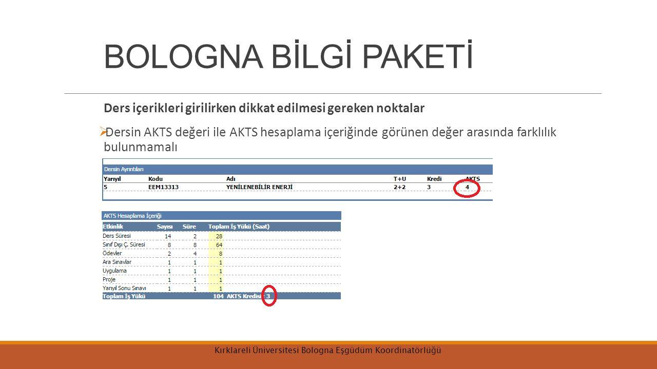 BOLOGNA BİLGİ PAKETİ Ders içerikleri girilirken dikkat edilmesi gereken noktalar  Dersin AKTS değeri ile AKTS hesaplama içeriğinde görünen değer arasında farklılık bulunmamalı Kırklareli Üniversitesi Bologna Eşgüdüm Koordinatörlüğü