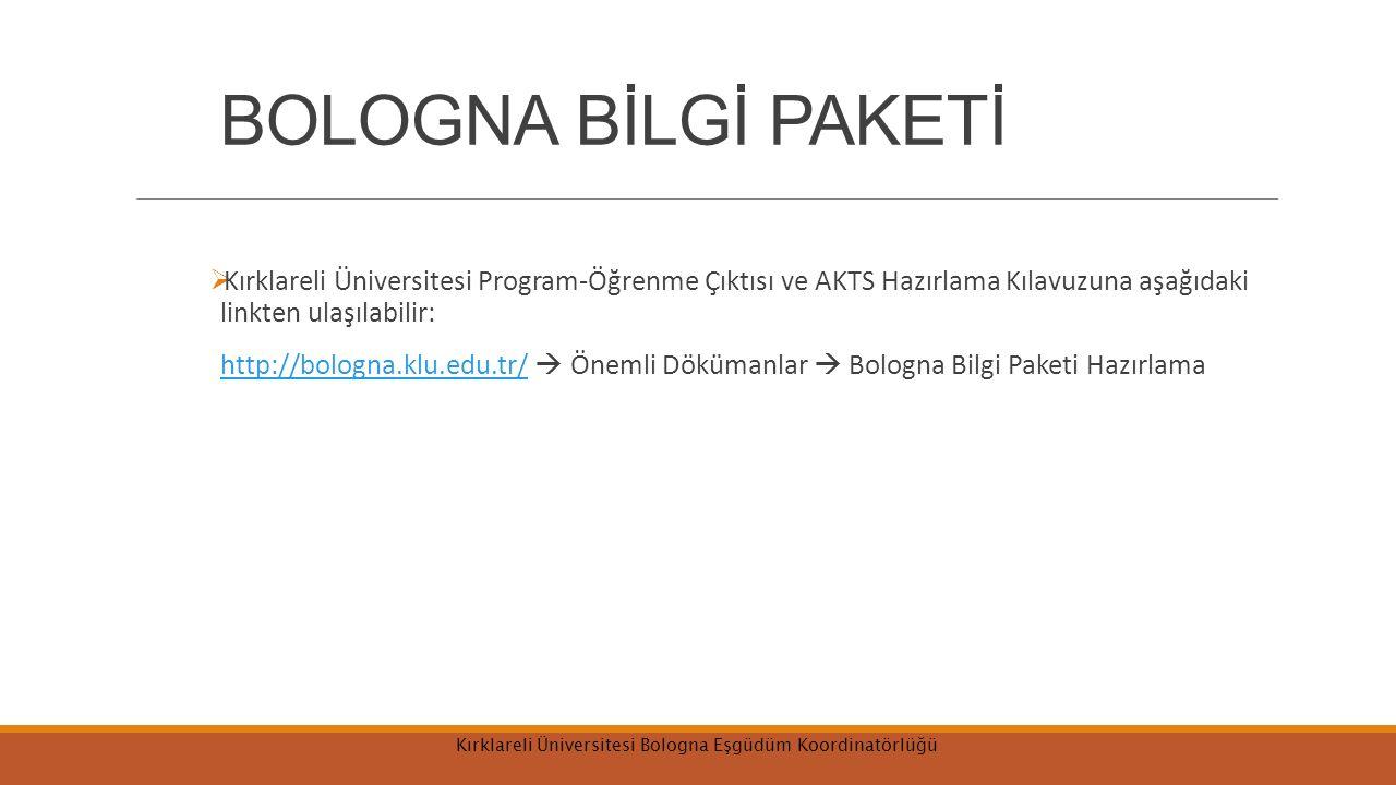 BOLOGNA BİLGİ PAKETİ  Kırklareli Üniversitesi Program-Öğrenme Çıktısı ve AKTS Hazırlama Kılavuzuna aşağıdaki linkten ulaşılabilir: http://bologna.klu.edu.tr/  Önemli Dökümanlar  Bologna Bilgi Paketi Hazırlamahttp://bologna.klu.edu.tr/ Kırklareli Üniversitesi Bologna Eşgüdüm Koordinatörlüğü