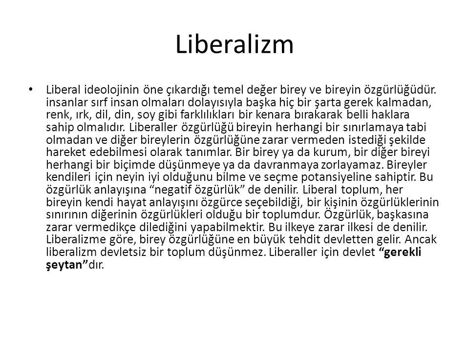 Liberalizm Liberal ideolojinin öne çıkardığı temel değer birey ve bireyin özgürlüğüdür. insanlar sırf insan olmaları dolayısıyla başka hiç bir şarta g
