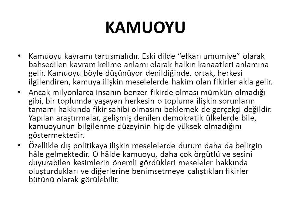 """KAMUOYU Kamuoyu kavramı tartışmalıdır. Eski dilde """"efkarı umumiye"""" olarak bahsedilen kavram kelime anlamı olarak halkın kanaatleri anlamına gelir. Kam"""