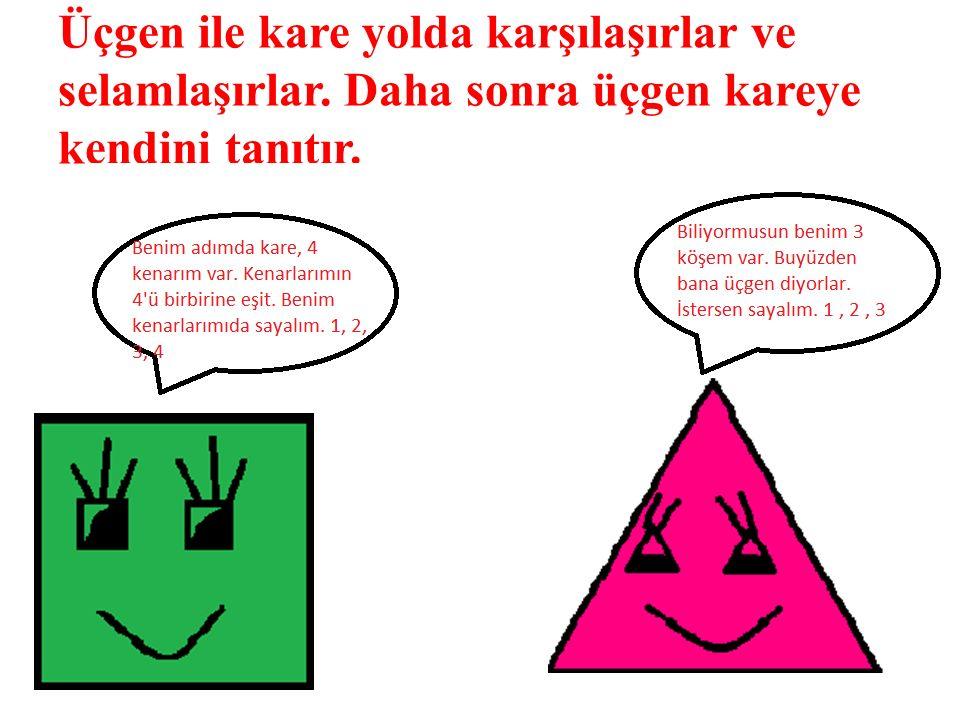 Üçgen ile kare yolda karşılaşırlar ve selamlaşırlar. Daha sonra üçgen kareye kendini tanıtır.