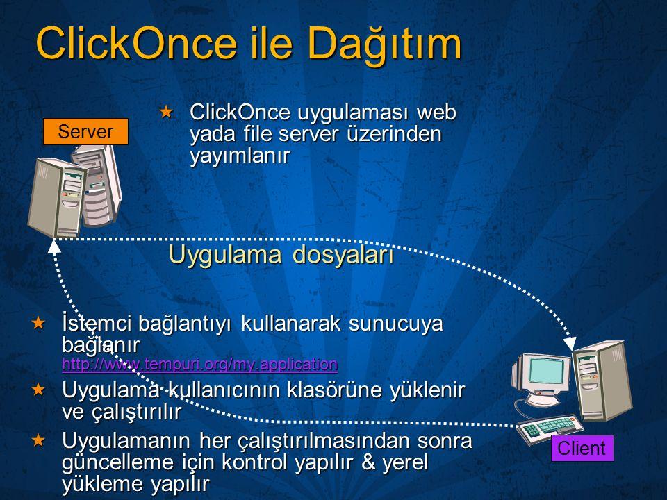 ClickOnce ile Dağıtım  ClickOnce uygulaması web yada file server üzerinden yayımlanır  İstemci bağlantıyı kullanarak sunucuya bağlanır http://www.te