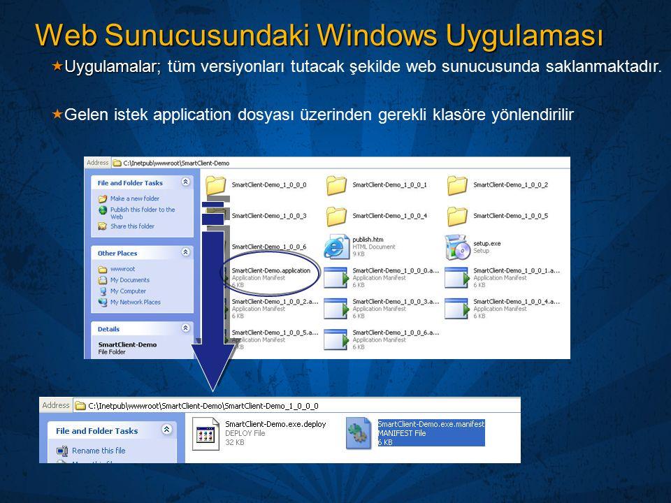 Web Sunucusundaki Windows Uygulaması  Uygulamalar;  Uygulamalar; tüm versiyonları tutacak şekilde web sunucusunda saklanmaktadır.  Gelen istek appl