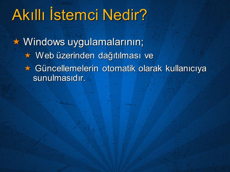 Akıllı İstemci Nedir?  Windows uygulamalarının;  Web üzerinden dağıtılması ve  Güncellemelerin otomatik olarak kullanıcıya sunulmasıdır.