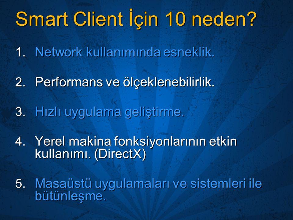 Smart Client İçin 10 neden? 1. Network kullanımında esneklik. 2. Performans ve ölçeklenebilirlik. 3. Hızlı uygulama geliştirme. 4. Yerel makina fonksi