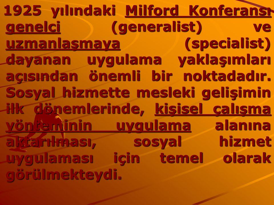 1925 yılındaki Milford Konferansı genelci (generalist) ve uzmanlaşmaya (specialist) dayanan uygulama yaklaşımları açısından önemli bir noktadadır. Sos