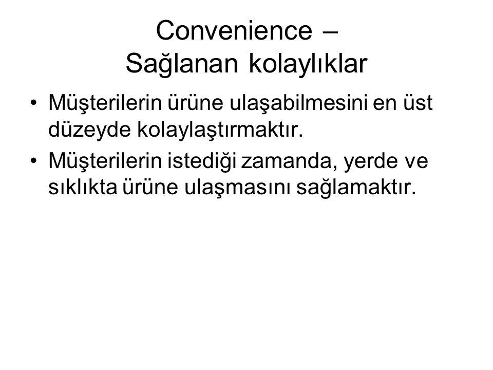 Convenience – Sağlanan kolaylıklar Müşterilerin ürüne ulaşabilmesini en üst düzeyde kolaylaştırmaktır. Müşterilerin istediği zamanda, yerde ve sıklıkt