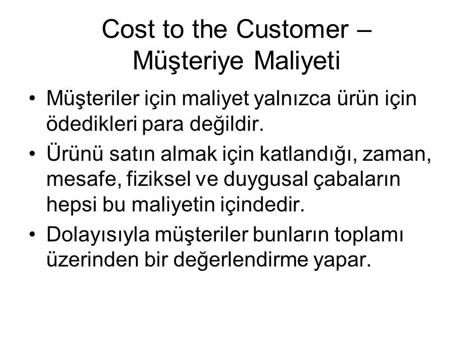 Cost to the Customer – Müşteriye Maliyeti Müşteriler için maliyet yalnızca ürün için ödedikleri para değildir. Ürünü satın almak için katlandığı, zama