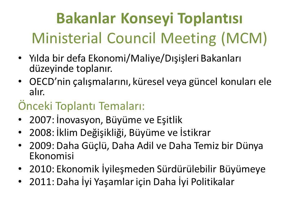 Bakanlar Konseyi Toplantısı Ministerial Council Meeting (MCM) Yılda bir defa Ekonomi/Maliye/Dışişleri Bakanları düzeyinde toplanır. OECD'nin çalışmala