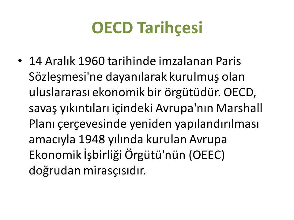 OECD Tarihçesi 14 Aralık 1960 tarihinde imzalanan Paris Sözleşmesi'ne dayanılarak kurulmuş olan uluslararası ekonomik bir örgütüdür. OECD, savaş yıkı