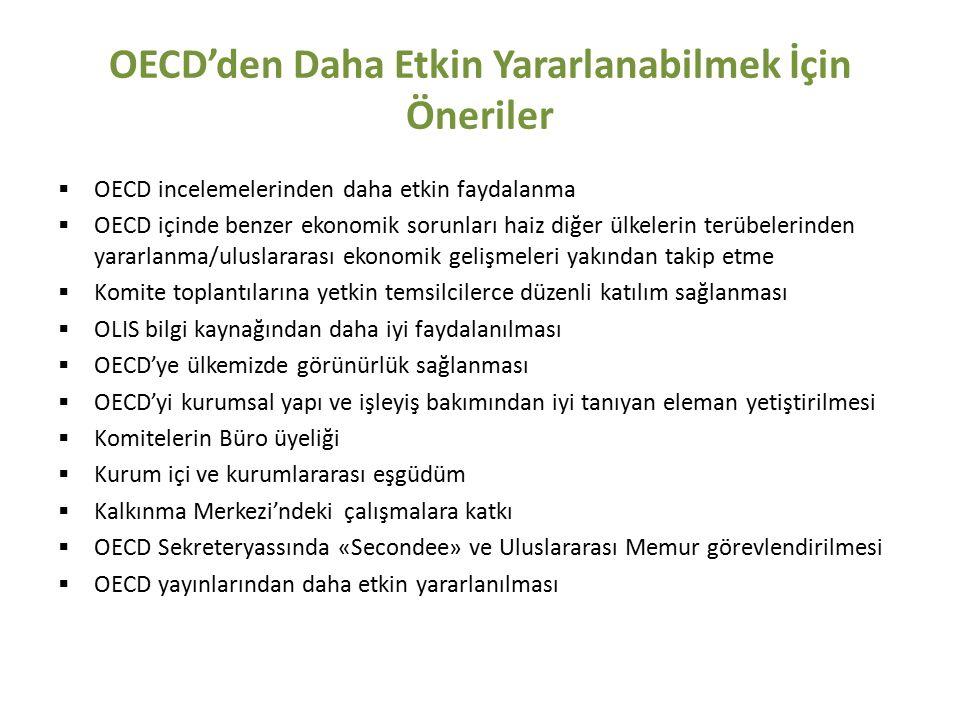 OECD'den Daha Etkin Yararlanabilmek İçin Öneriler  OECD incelemelerinden daha etkin faydalanma  OECD içinde benzer ekonomik sorunları haiz diğer ülkelerin terübelerinden yararlanma/uluslararası ekonomik gelişmeleri yakından takip etme  Komite toplantılarına yetkin temsilcilerce düzenli katılım sağlanması  OLIS bilgi kaynağından daha iyi faydalanılması  OECD'ye ülkemizde görünürlük sağlanması  OECD'yi kurumsal yapı ve işleyiş bakımından iyi tanıyan eleman yetiştirilmesi  Komitelerin Büro üyeliği  Kurum içi ve kurumlararası eşgüdüm  Kalkınma Merkezi'ndeki çalışmalara katkı  OECD Sekreteryassında «Secondee» ve Uluslararası Memur görevlendirilmesi  OECD yayınlarından daha etkin yararlanılması